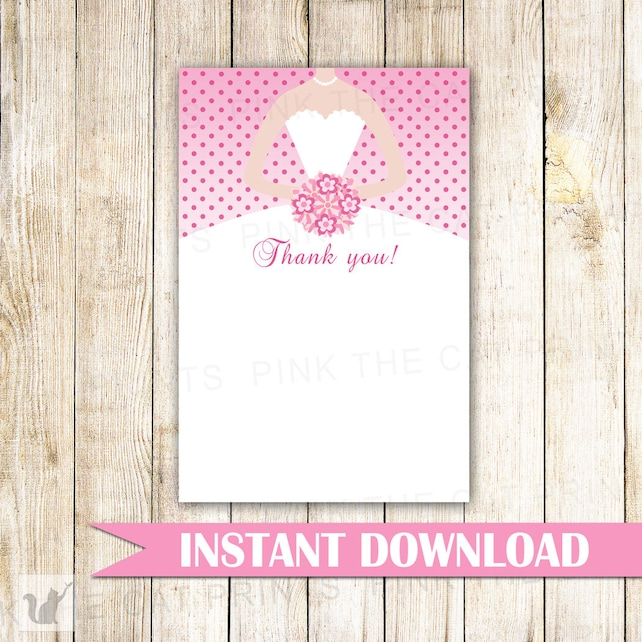 Dress Thank You Cards Bridal Shower Thank You Note Sweet 16 Thank