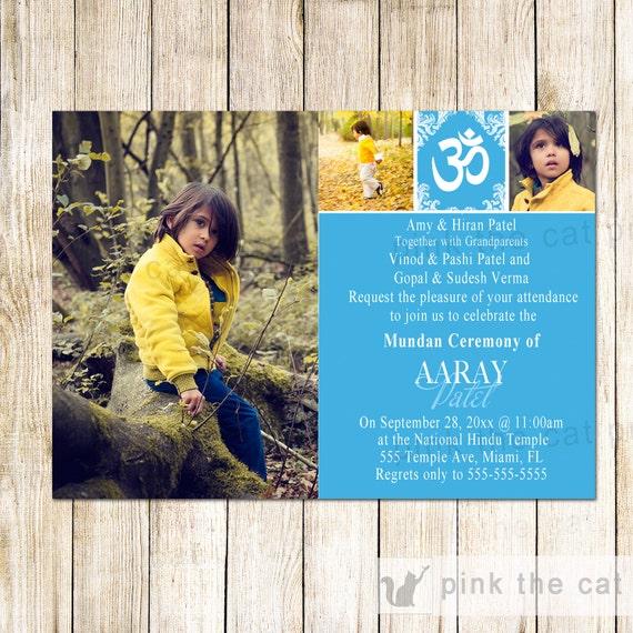 Mundan Ceremony Invitation Blue With Photos Printable File Etsy
