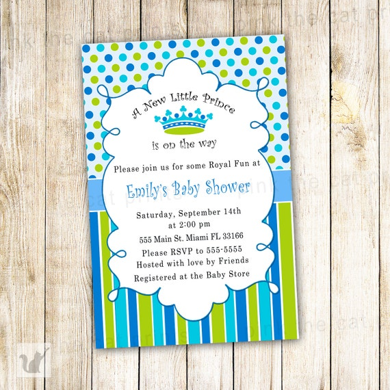 New little prince baby shower invitation card blue polka etsy image 0 filmwisefo