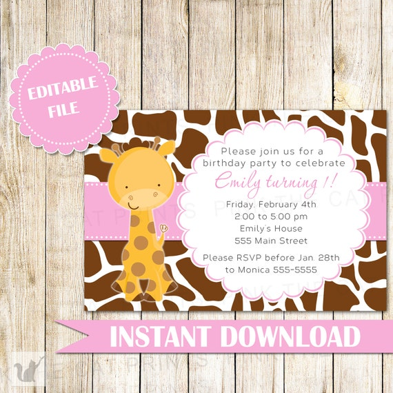 giraffe invitation girl birthday party giraffe birthday etsy