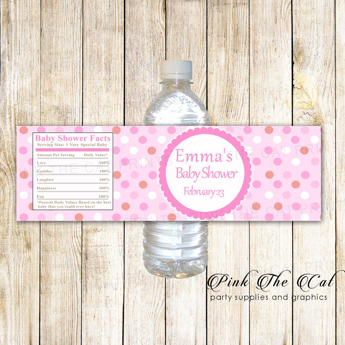 Pink Baby Shower Water Bottle Labels Printable Bottle Labels Etsy