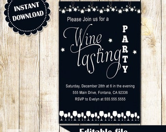 Wine Tasting Invitation - String Lights Holiday Party Adult Invite Editable File INSTANT DOWNLOAD