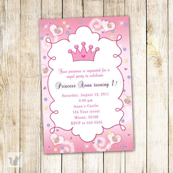 Princess Birthday Invitation Card Butterfly Custom Girl 1st