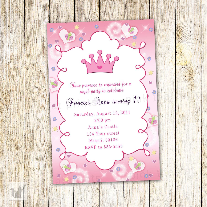 Princess Birthday Invitation Card Butterfly Custom Girl 1st | Etsy