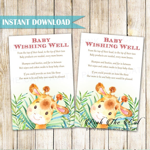 Hand Painted Giraffe Baby Shower Wishing Well Card Giraffe Etsy