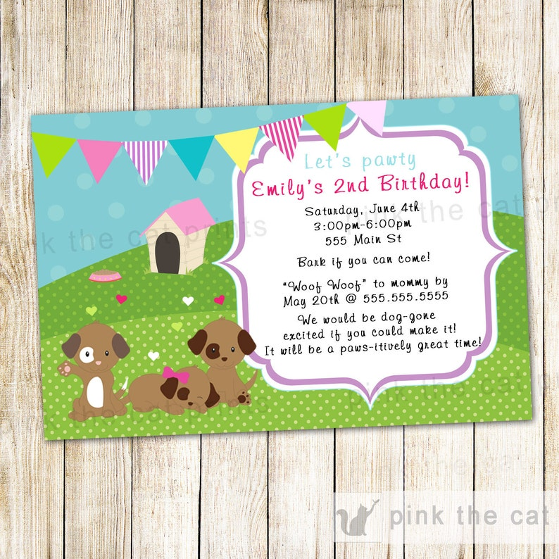 Puppy Birthday Invitation Printable