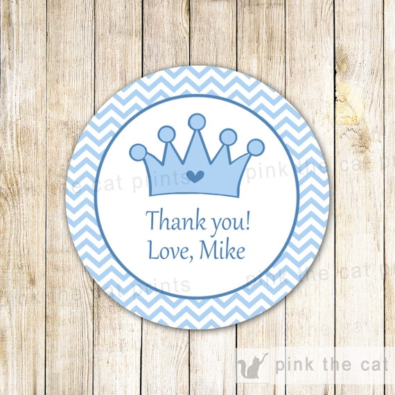 40 Stickers Personalized Prince Thank You Labels Prince Baby Boy Shower Crown