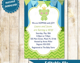 Frog Invitation - Prince Baby Boy Shower Birthday Party Invites Editable File INSTANT DOWNLOAD