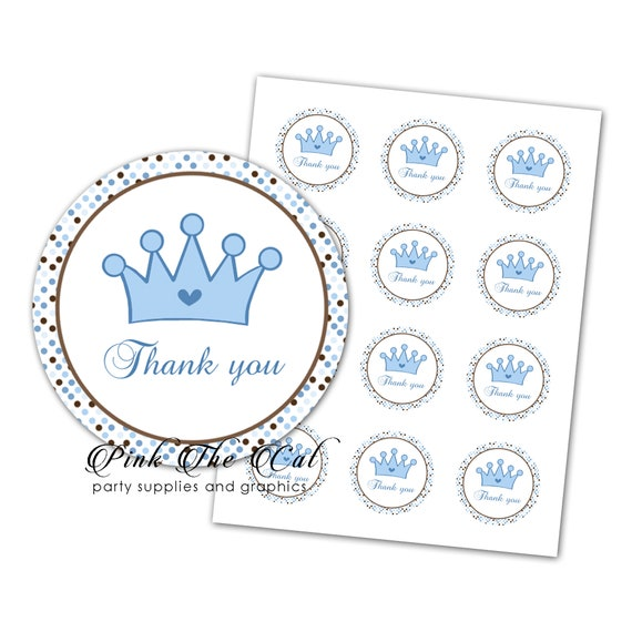 brown blue labels for baby shower thank you tags boys INSTANT DOWNLOAD baby shower thank you labels template Circle baby shower favors