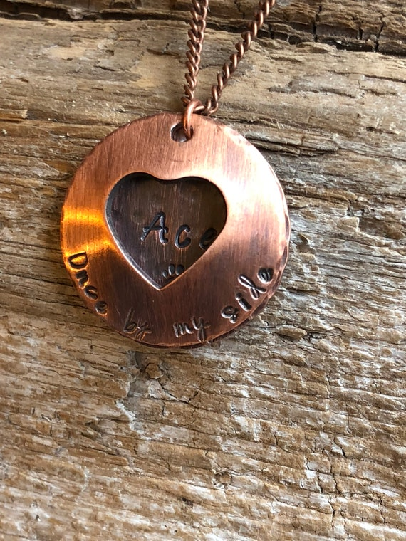 Personalized Memorial Pet Name Tag Tiny Copper Dog Tag split ring included customized by you a great remembrance piece