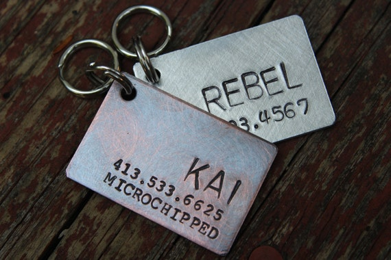 Rustic Copper Dog Tag Hand Forged Hand Stamped 1x1 with Split Ring
