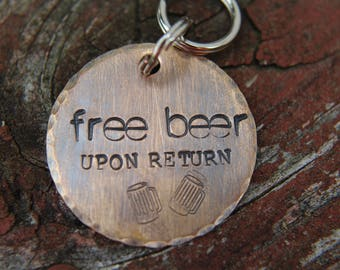 Custom Hand Stamped Dog ID Tag, Free Beer, Personalized Dog Tag, Copper Dog Tag, Aluminum Pet ID Tag, Hand Stamped Pet Tag