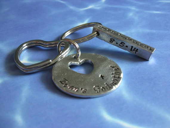 Godparent Keychain Gift For Godparents Gift For: Godparent Keychain Set In Pewter Gift For Godparents-Gift