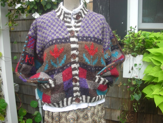 À la main-tricot laine Designer pull veste - unique taille à s'adapte à taille la plupart 080ba1