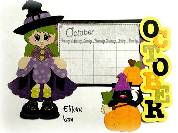 Halloween Witches Hat Title paper piecing Premade Scrapbook Pages