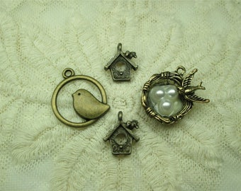 4 Assorted Antique Look Bronze Bird Pearl Nest Charms for Crafts Jewelry Scrapbooking
