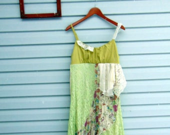 Refashioned Upcycled Dress Spring Summer Patchwork Boho Gypsy Junk Altered Clothing Tank Top Mori Girl Dress Tatters to Treasures SIZE M