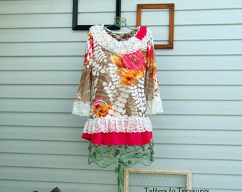 Refashioned Upcycled Bright Pink Fuscia Sage Green and Ivory Floral Knit Top Tunic Spring Summer SIZE MED