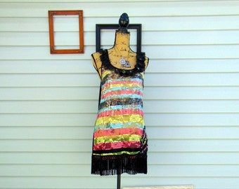 Refashioned Upcycled Spring Summer Tank Tunic Black Ruffle Lace and Fringe Multi-color Top SIZE L
