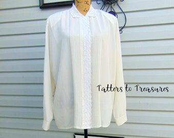 Vintage Ivory Long Sleeve Blouse Button Front Top PLUS SIZE XL