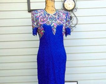 Vintage Laurence Kazan Dress, Royal Blue Beaded Dress, Holiday Dress, Christmas Dress, Blue Beaded Dress, Vintage Beaded Dress
