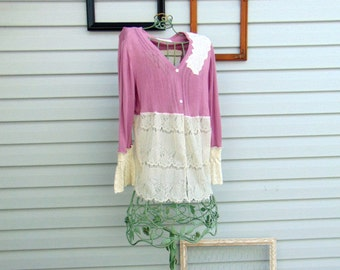 Romantic Mauve and Ivory Lace Refashioned Long Sleeve Cardigan Spring Sweater Ladies Top / Artsy Patchwork Sweater SIZE LARGE