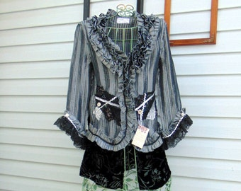 Refashioned Silver Gray Black Ruffled and Embellished Top Blouse Tunic SIZE MED