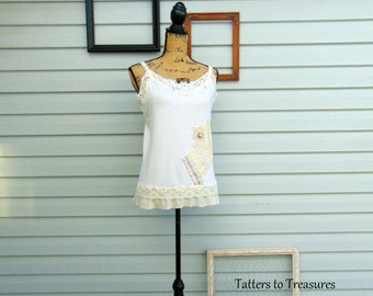 Ivory and Lace Collection Refashioned Vintage Lace and buttons embellished Tank Top with Ruffle and Lace Straps SIZE M / L