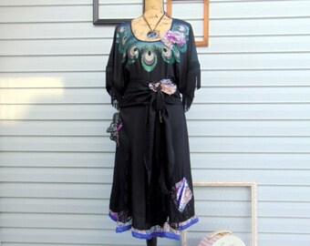 Black Peacock Refashioned Dress Fringe Lace SIZE L / XL Romantic Boho Dress