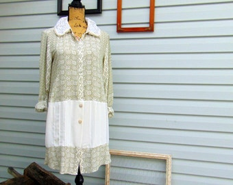 Sage Green and Ivory Romantic Refashioned Long-Sleeve Button-front Tunic Top Duster with Lace SIZE M/L