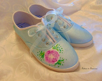 Handpainted Sneakers Tennis Shoes Embellished SIZE 8 Blue White Pink Green Handcrafted Sprint Summer Shoes