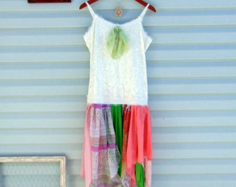 Refashioned Spring Summer Dress Upcycled Boho Lagenlook Mori Girl SIZE Jr. LARGE Ivory Pink Coral Green Scarf Dress