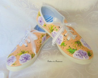Handpainted Sneakers Tennis Shoes Summer Fun Shoes Made in the USA peach purple white Sizes 5 - 10