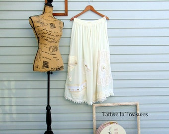 Ivory and Lace Collection Refashioned Skirt or Strapless Dress Bridal or Pregnancy Photo Gown with Lace and Ribbons SIZE L - XL