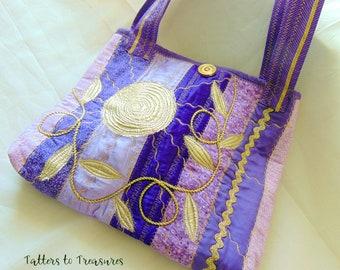 Purple Patchwork Applique Handcrafted Fiber Art Tote Bag