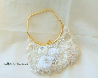 Ivory and Gold Beaded and Embellished Refashioned Hand Bag Prom Bridal Purse Designed and Created in the USA Hand-Fashioned