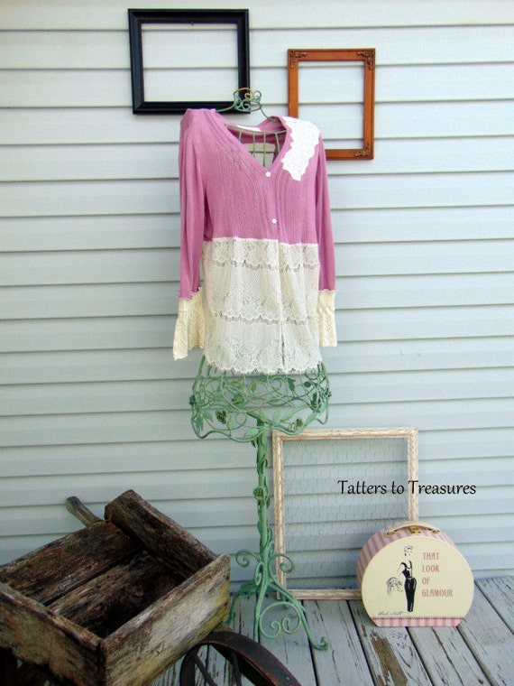Strawberry Vanilla Smoothie Refashioned Upcycled Tunic Sweater SZ MEDIUM  LARGE Ivory Pink Yellow TeamWeRecreate