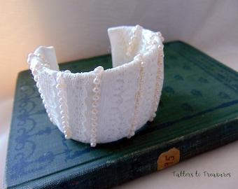 CUFF BRACELET Ivory Ribbon Lace Pearl Beads Fiber Art Cuff Bracelet Handcrafted Bracelet Made in the USA