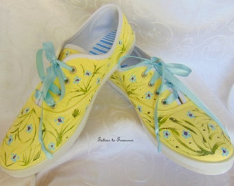 Handpainted Sneakers Tennis Shoes Fun Summer Shoes Yellow Blue Flowers Made in the USA SIZES 5 - 10