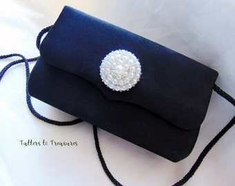 Black Satin Refashioned Clutch Small Handbag Faux Pearl Button Embellishment Evening Purse for Prom or Formal Event