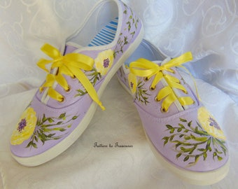 Hand-painted Sneakers Tennis Shoes Purple and Yellow FUN Summer Shoes SIZES 5 - 10 Make in the USA