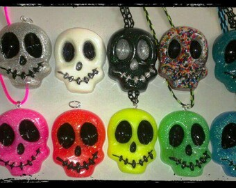 Glitter Resin Skull Necklace - Glitter Necklace