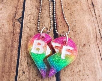 Bff Split heart Necklaces