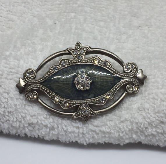 Victorian Style Inlaid Enamel Brooch