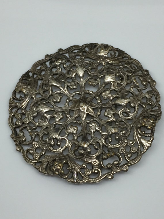 Joseff Of Hollywood Antiqued Silver Toned Medallio