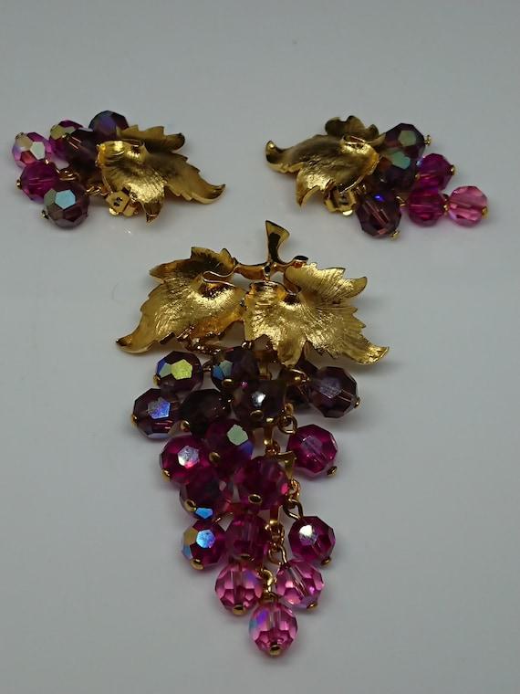 Schrager Gold Tone AB Grape Demi Parure, circa 195