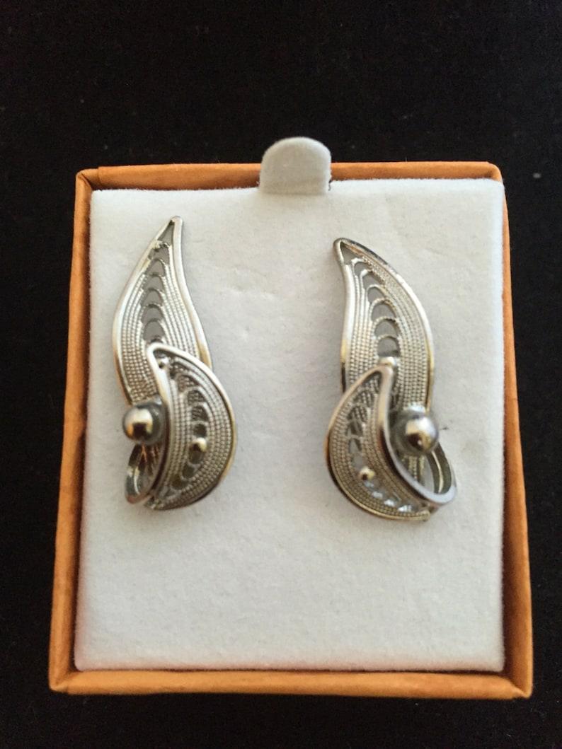 Vintage German Sterling Brooch and Screw Back post earrings