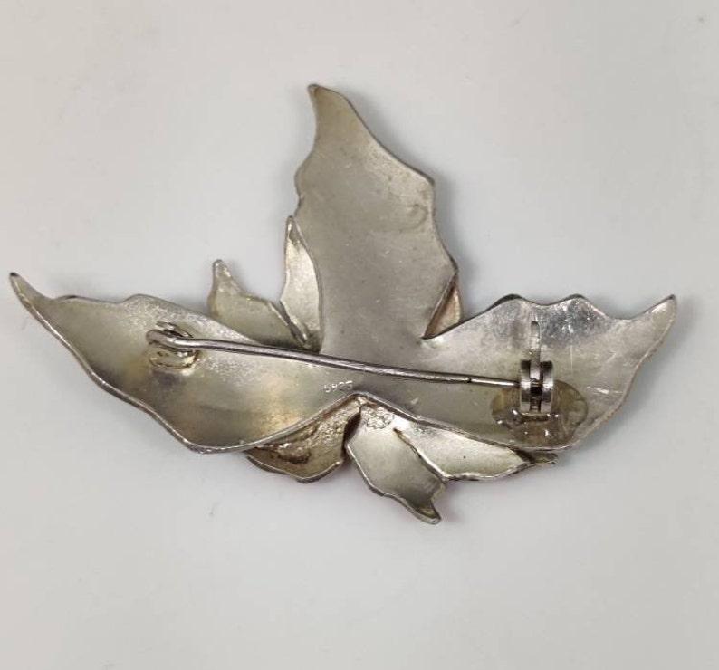 ON SALE Sterling Silver Plate Cloisonn\u00e9 Poinsettia Brooch