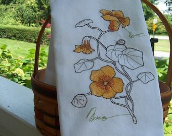 Tan  Cotton Linen  Boxy Top Elana Gabrielle x Brooke Ciocco  Nasturtium Tea Towel Top  Illustration  Pink