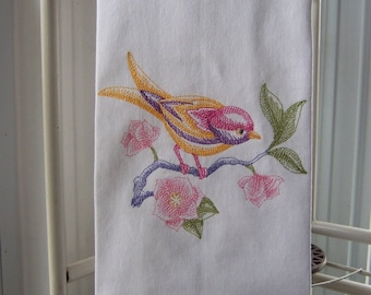 Watercolor Bird Tea Towel | Embroidered Tea Towel | Embroidered Kitchen Towel | Embroidered Dish Towel | Embroidered Kitchen Dish Towel